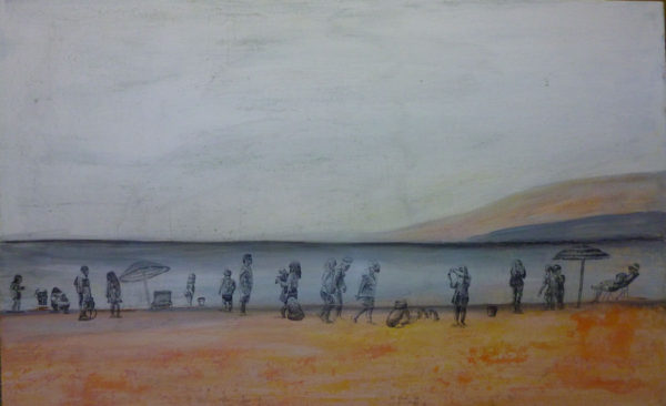 I draw a row of people along the shore, I then fix the charcoal with Krylon workable fixative.