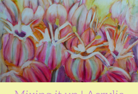 Allium Flower, painting flowers with mixed media on canvas by Sandrine Pelissier on ARTiful, painting demos