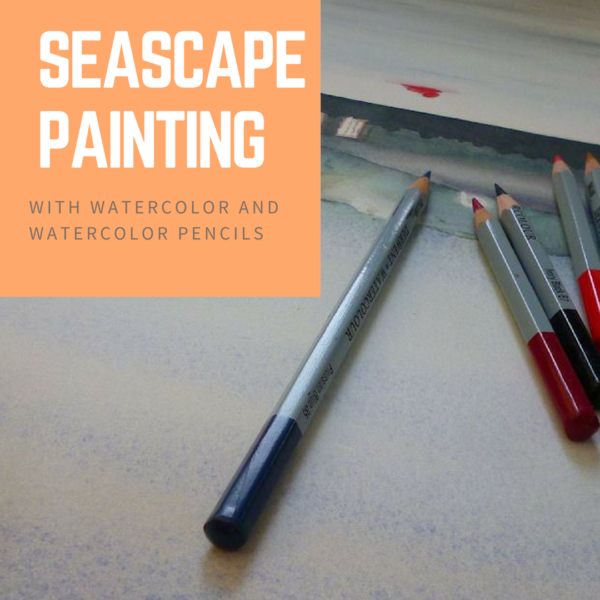 Painting a seascape with watercolor and watercolor pencils on ARTiful, painting demos by Sandrine Pelissier