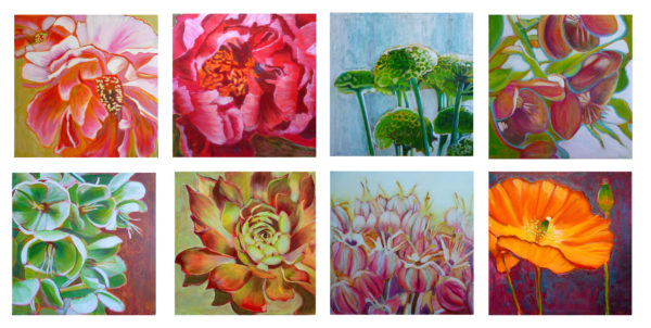 Flower paintings of nature in mixed media