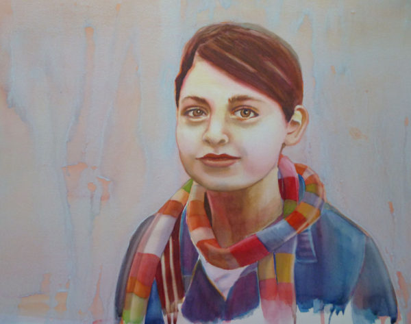 lifting up colors with a stiff brush when painting watercolor portraits