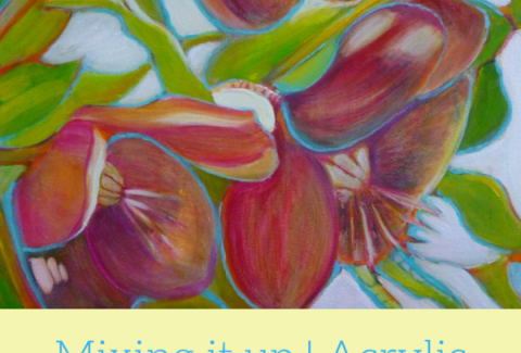 Painting flowers with acrylic and pastels on ARTiful, painting demos by Sandrine Pelissier