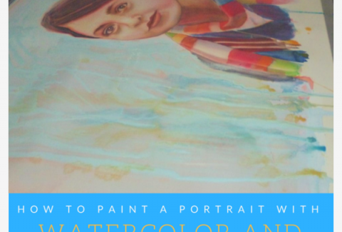 How to paint a portrait with watercolor and gouache by Sandrine Pelissier on ARTiful, painting demos