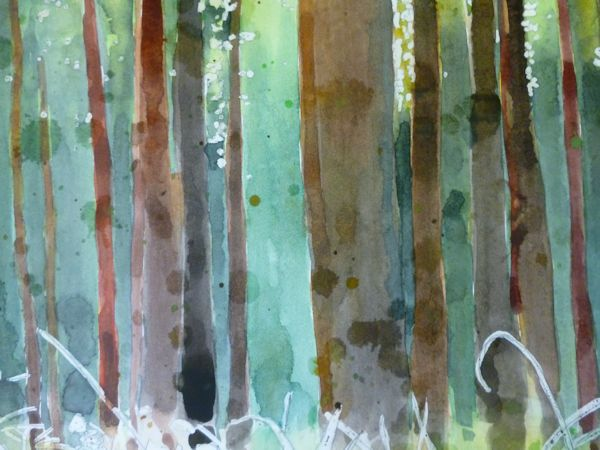 Painting the trunks and adding texture.