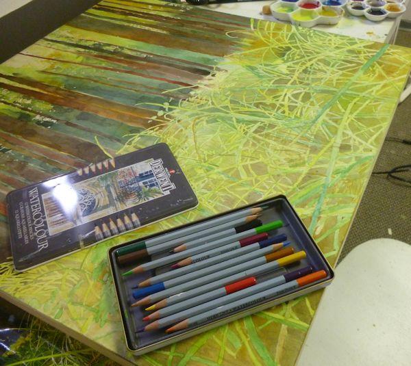 adding watercolor crayons to watercolor