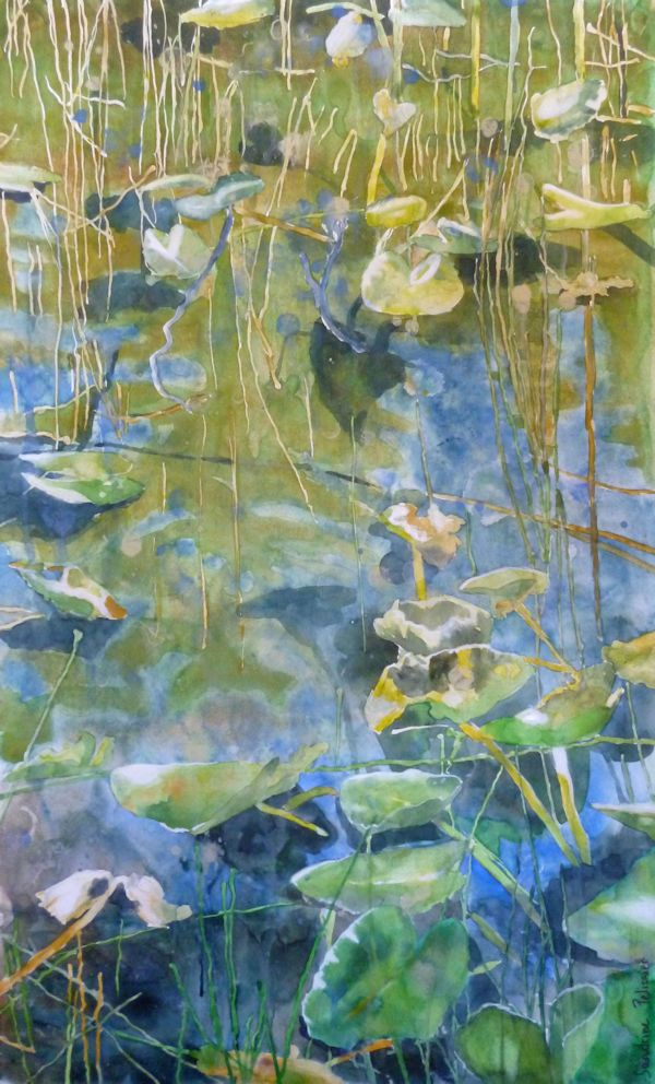 One Mile Lake, watercolor on paper, mounted on board