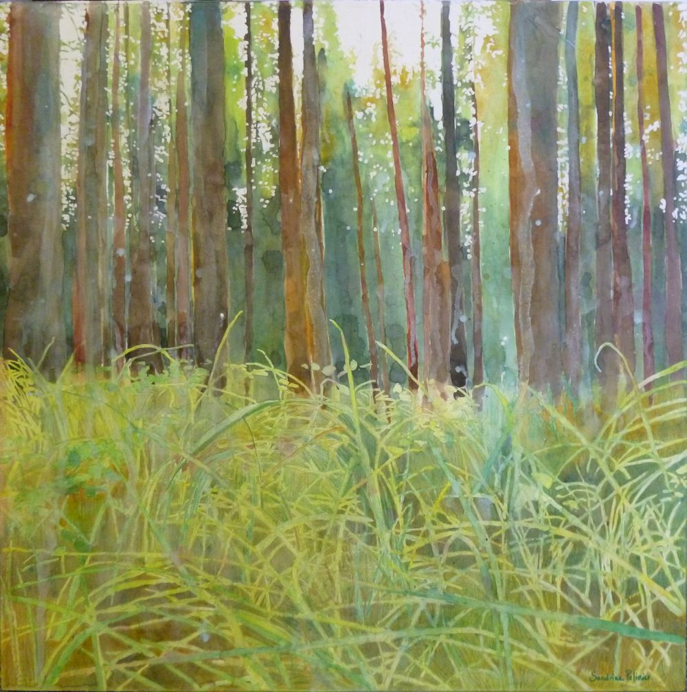 Playing in the grass, watercolor and mixed media on paper, mounted on board