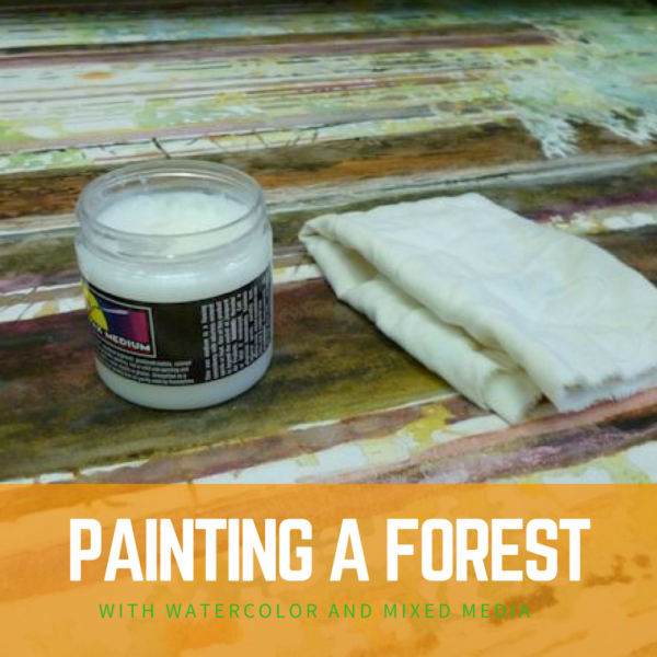 Painting a forest with watercolors and mixed media on ARTiful, painting demos by Sandrine Pelissier