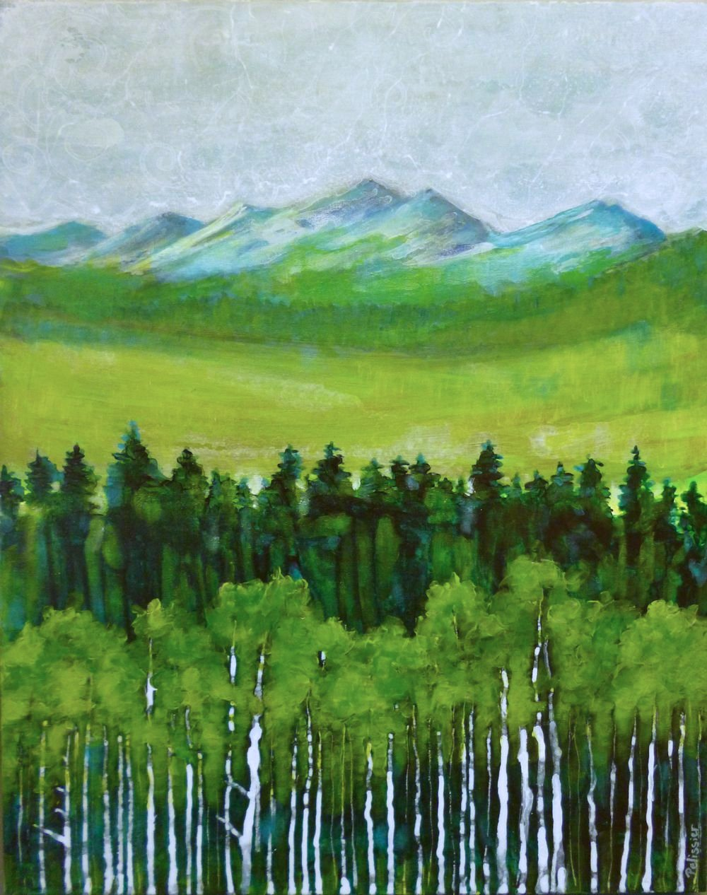 Semi abstract mountain landscape acrylic painting on ...