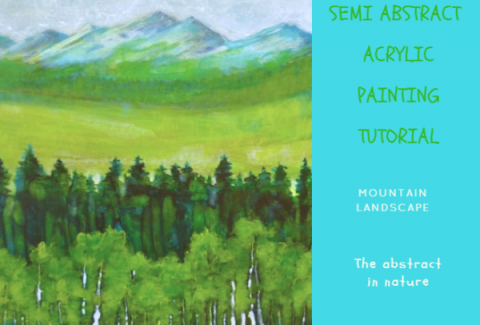 Painting a semi abstract acrylic mountain landscape by Sandrine Pelissier