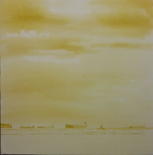 How to paint sea and clouds in watercolor painting the yellow watercolor layer