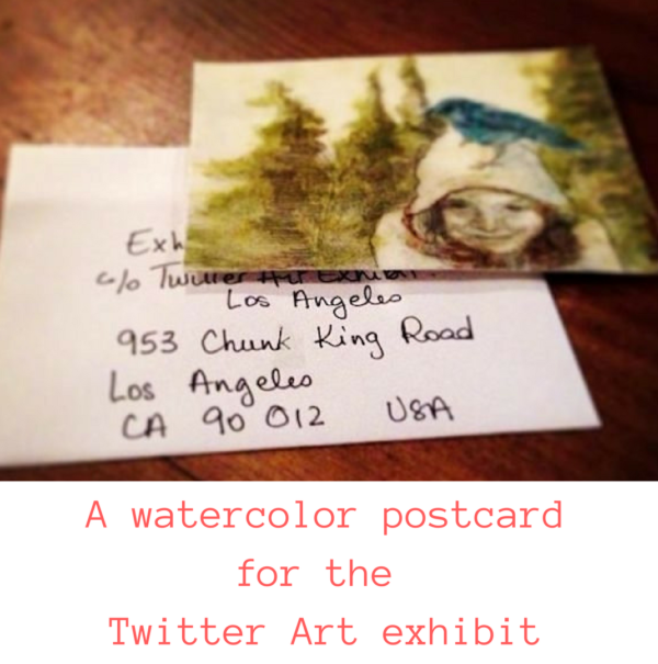 A watercolor postcard for the Twitter Art exhibit on ARTiful, painting demos by Sandrine Pelissier