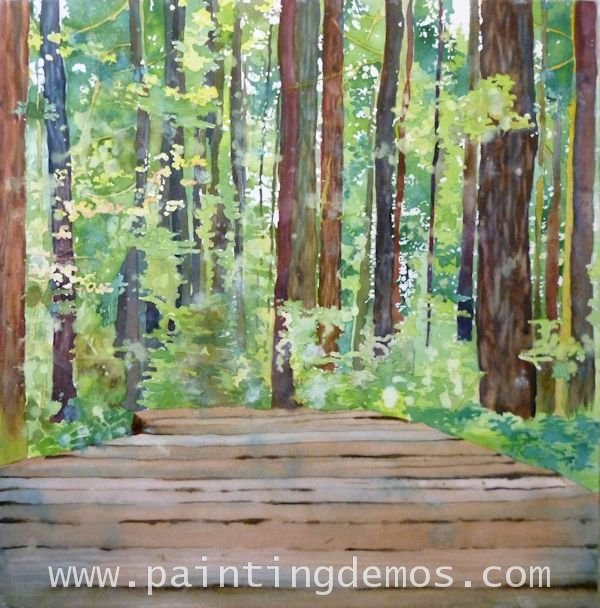 painting a forest with watercolor and mixed media