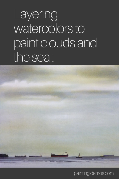 Layering watercolors to paint clouds and the sea on ARTiful, painting demos by Sandrine Pelissier
