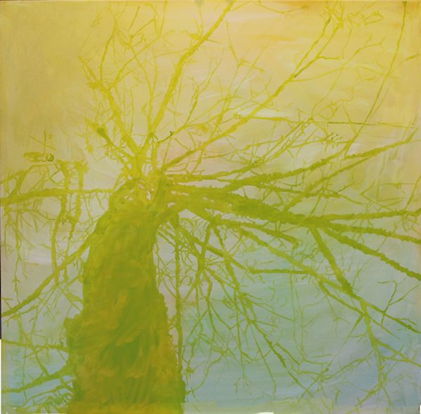 green underpainting on the mixed media tree