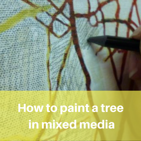 Painting a tree in mixed media on ARTiful, painting demos by Sandrine Pelissier
