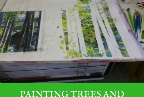 Painting trees and leaves: On either side of the river, watercolor on paper by Sandrine Pelissier on ARTiful, painting demos