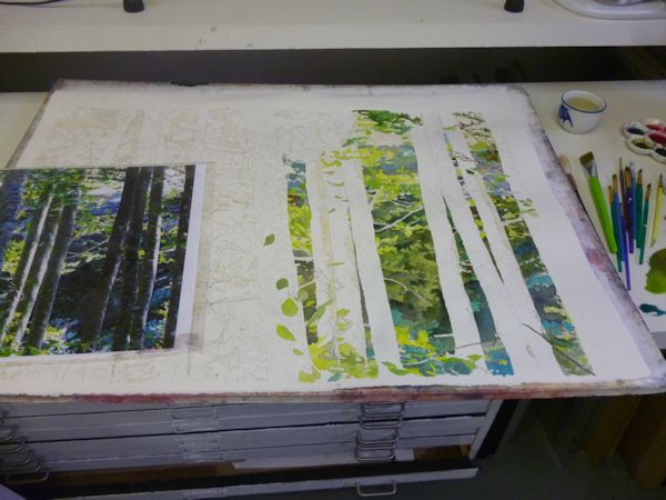 preserving whites with masking fluid and painting the background with watercolors