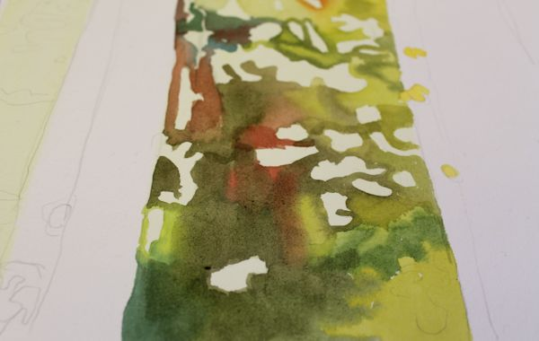 painting leaves mixing watercolors wet into wet