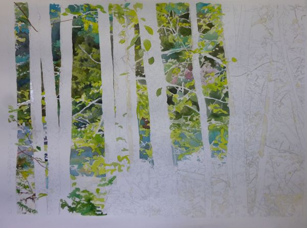 painting a forest and leaves with watercolor from a reference picture