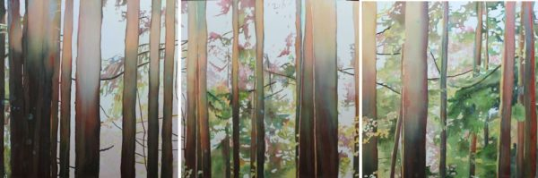 watercolor painting of forest and trees by North Vancouver artist Sandrine Pelissier