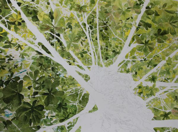 painting some leaves darker with a watercolor wash of sap green and Madder lake
