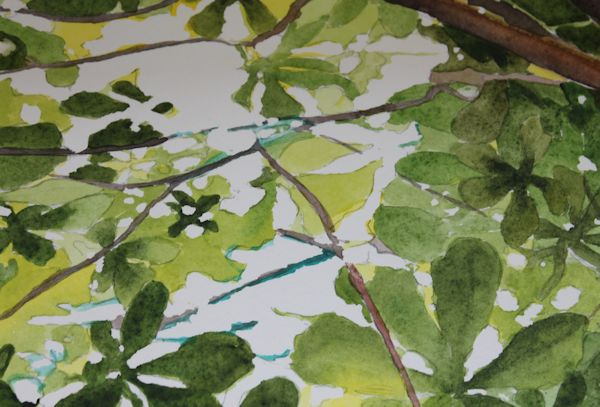 close up of masking fluid removed