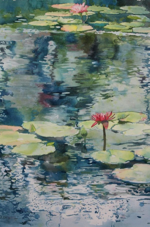 painting lily pads and reflections on the water with watercolor