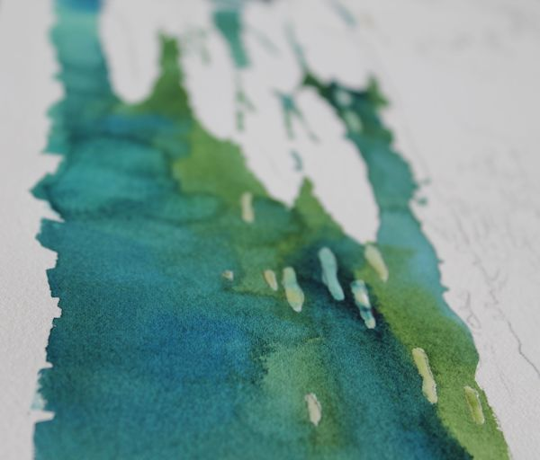 mixing different tones of Prussian blue and sap green wet into wet.