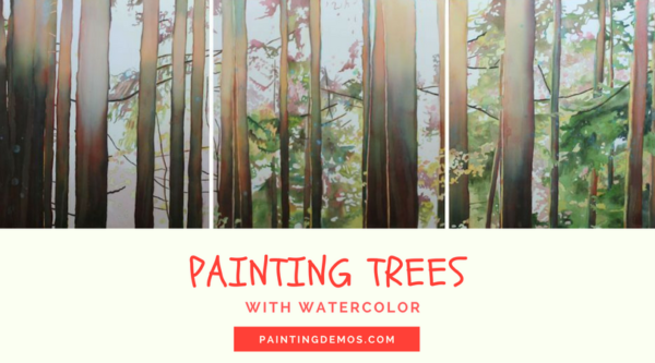 How to paint trees and leaves with watercolor on ARTiful, painting demos by Sandrine Pelissier