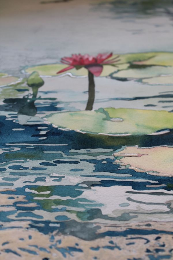 hard edges on the water reflections that I will soften with a stiff brush and water