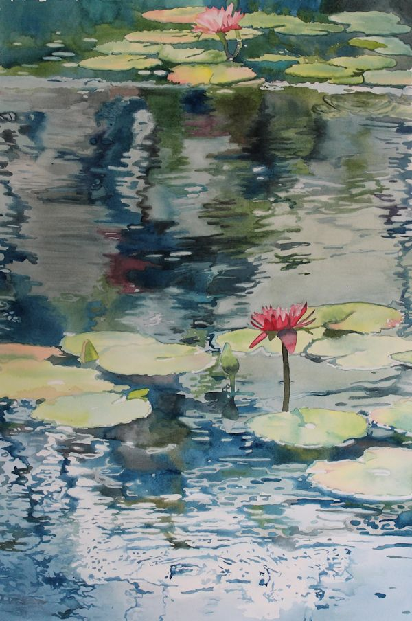 painting lily pads and reflections on water with watercolor by North Vancouver artist Sandrine Pelissier