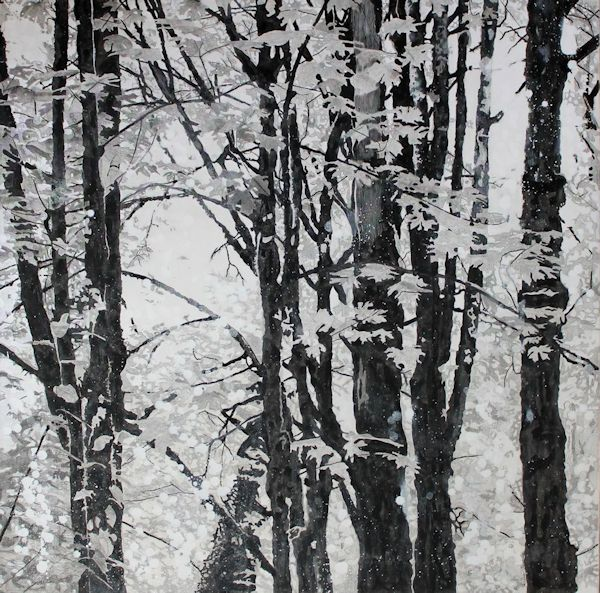 black and white forest in India ink on canvas