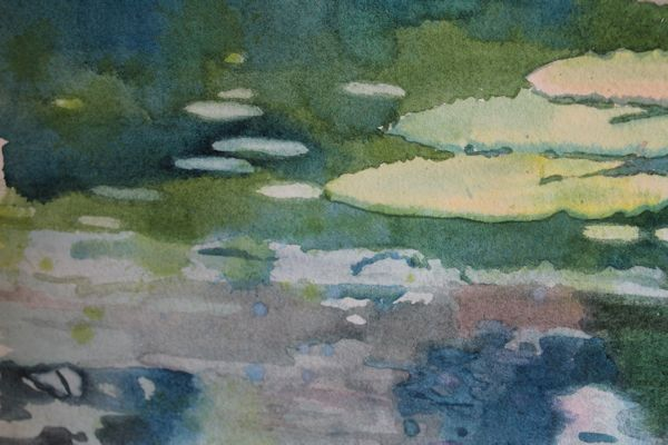 details of watercolor lily pads painting by North Vancouver artist Sandrine Pelissier