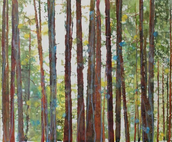 watercolor forest and trees painting by North Vancouver artist Sandrine Pelissier