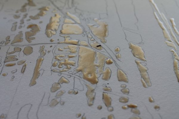 apply masking fluid to leave some areas of your paper un-painted