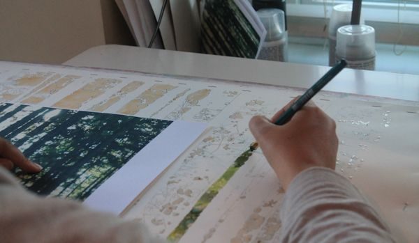 painting wet into wet foliage with watercolor