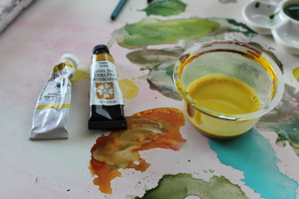 layering watercolor to paint a forest
