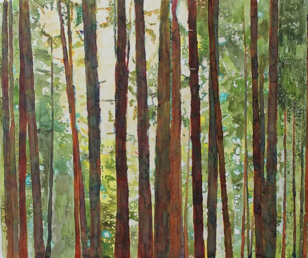 painting trees with watercolor