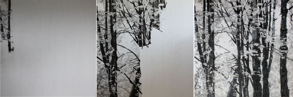 how to paint a forest with India ink on canvas