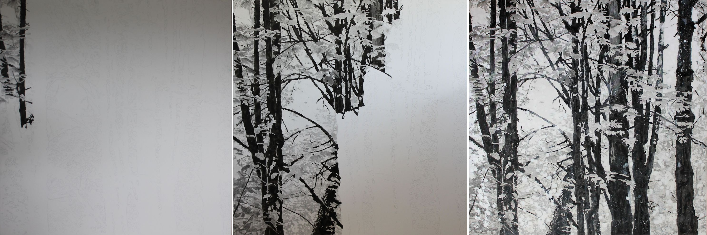 Black and white forest mixed media painting tutorial