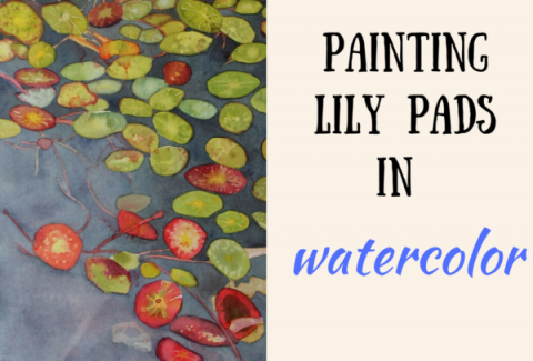 Painting lily pads with watercolor on ARTiful, painting demos by Sandrine Pelissier