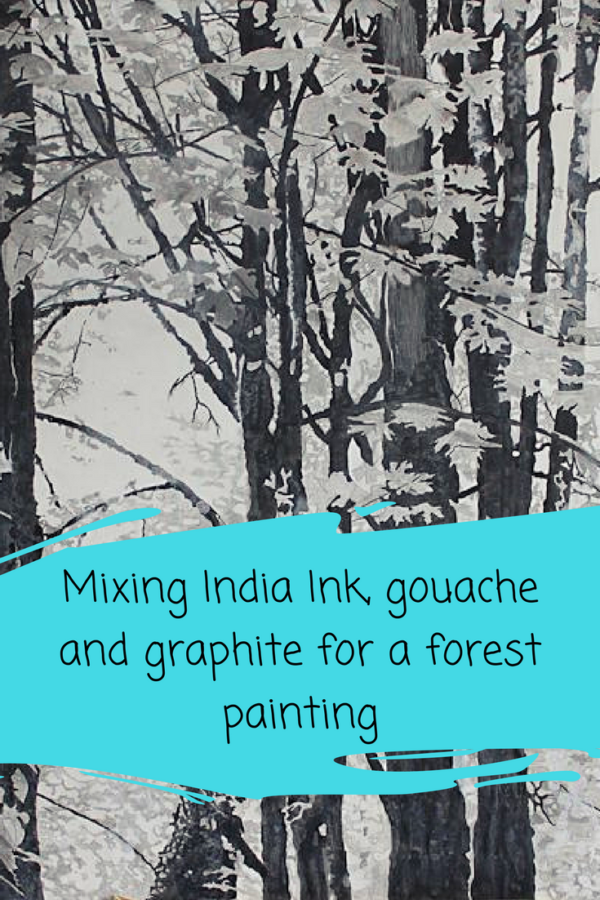 Mixing India Ink, Graphite and Acrylic for a black and white forest painting on ARTiful, painting demos by Sandrine Pelissier