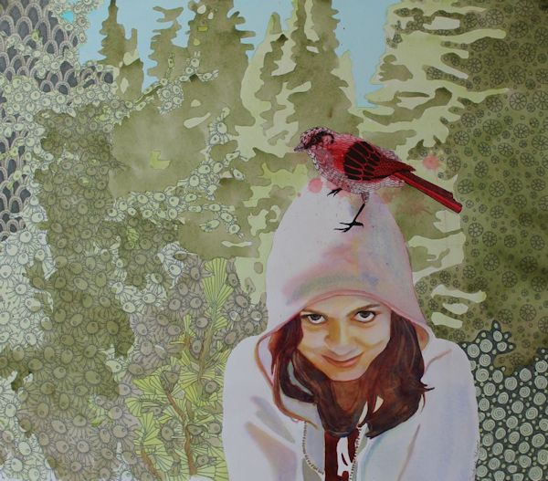 watercolor portrait with bird and zentangle patterns by North Vancouver artist Sandrine Pelissier