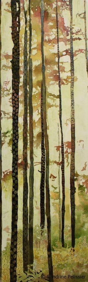 Watercolor and mixed media on canvas zentangle forest, original painting by North Vancouver artist Sandrine Pelissier