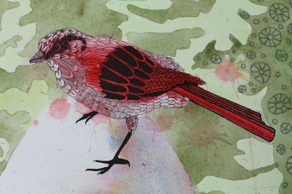 zentangle watercolor bird