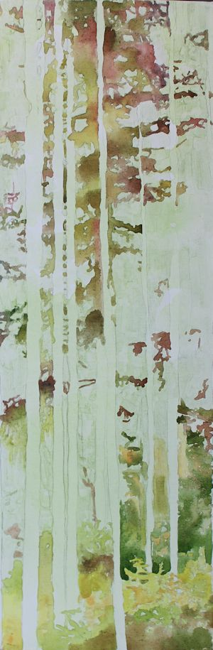 layering watercolor on canvas to paint foliage wet into wet