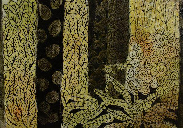 leaves patterns on zentangle forest painting