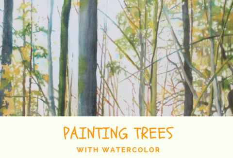 Painting trees with watercolor by Sandrine Pelissier on ARTiful, painting demos