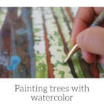 Painting trees with watercolor, Hiking with the dogs